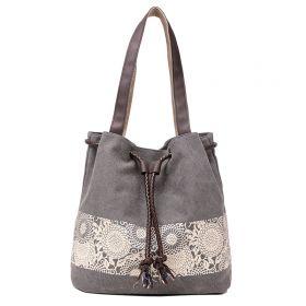 Dámská plátěná kabelka Blumen šedá