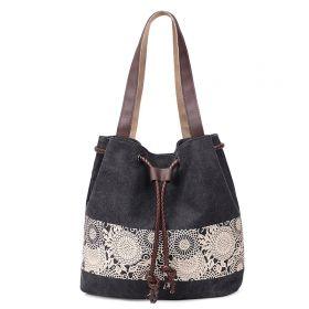 Dámská plátěná kabelka Blumen - černá