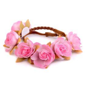 Květinová čelenka s růžičky růžová