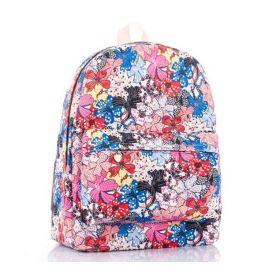 Plátěný batoh s květinovým potiskem