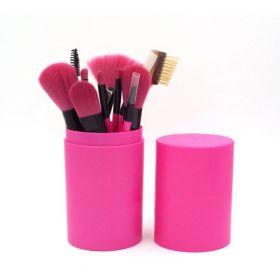 Set 12 kusů Fuchsia kosmetických štětců v tubě