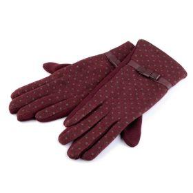 Dámské rukavice s puntíky Bordó