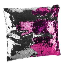 Polštář flitrový měnící 37x37 stříbrno-růžový