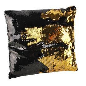 Polštář flitrový měnící 37x37 zlato-černý