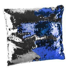 Polštář flitrový měnící 37x37 Modro-stříbrný