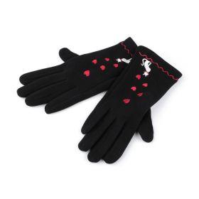 Dámské Černé úpletové rukavice kočka
