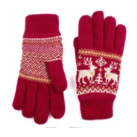 ArtOfPolo dámské rukavice se soby Červené