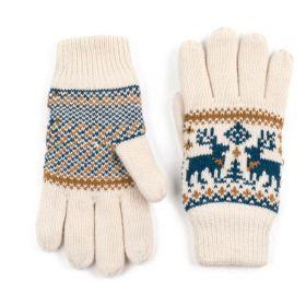 ArtOfPolo dámské rukavice se soby Béžové