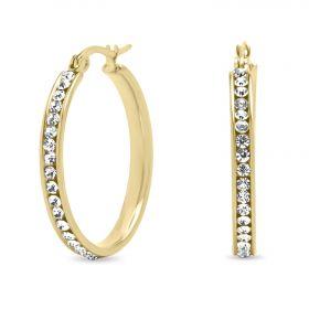Ocelové Náušnice kruhy s krystaly 20mm Zlaté