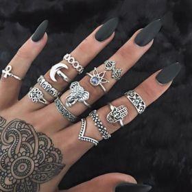 Sada Bohém prstenů 8ks Boho elephant