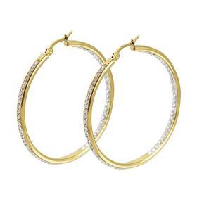 Ocelové Náušnice kruhy s krystaly 50mm Zlaté