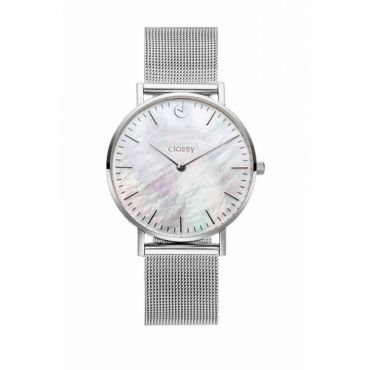 Classy dámské hodinky s opálovým odleskem Stříbrné