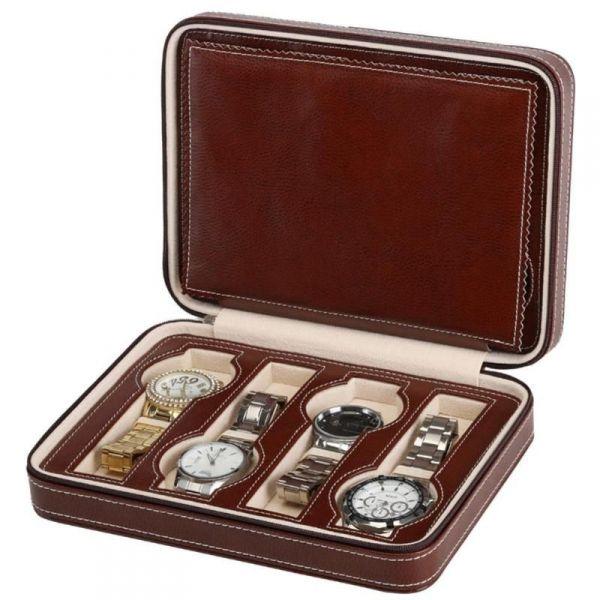 Úložný box na hodinky 8 komor Hnědý - foxstar.cz cafc91243d