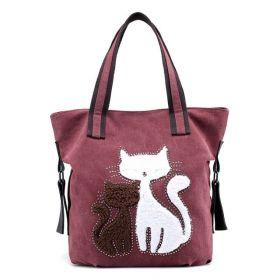 Dámská plátěná kabelka Cute Cats Bordová