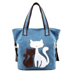 Dámská plátěná kabelka Cute Cats Modrá