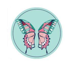 Plážový okrouhlý ručník Bohém motýl modrý