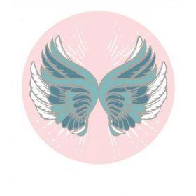 Plážový okrouhlý ručník Bohém motýl růžový