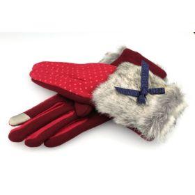Dámské puntikované rukavice s kožešinou Červené