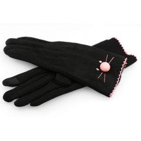 Dámské rukavice s vyšívkou kočky Černé