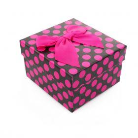 Dárková krabička na hodinky Fuchsia tečkovaná
