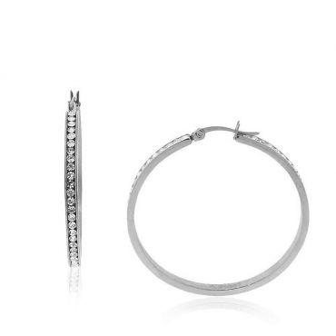 Ocelové Náušnice kruhy s krystaly 40 mm