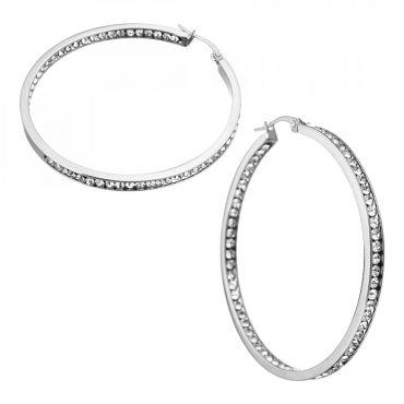Ocelové Náušnice kruhy s krystaly 50 mm Inside