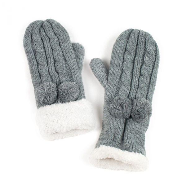Dámské palčáky rukavice s perličkami Šedé