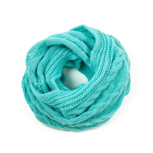 ArtOfPolo kruhový pletený šál Tyrkysový - foxstar.cz f7bd7e85bb