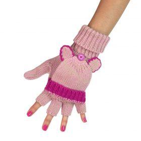 ArtOfPolo Bezprstové rukavice s klapkou Růžové