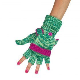 ArtOfPolo Bezprstové rukavice s klapkou Zelené