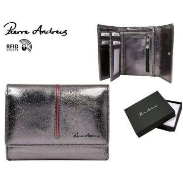 Andrens dámská kožená metalická peněženka LAN Stříbrná