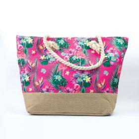 Plážová i nákupní taška Plameňáci růžový