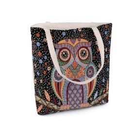 Lněná nákupní nebo plážová taška Černá sova