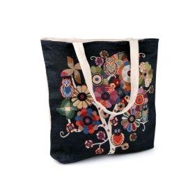Lněná nákupní nebo plážová taška Černý strom