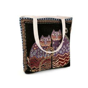 Lněná nákupní nebo plážová taška Černé kočky