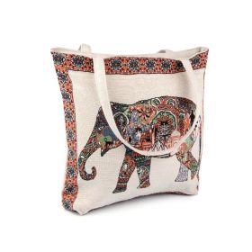 Lněná nákupní nebo plážová taška Slon