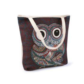 Lněná nákupní nebo plážová taška Modrá sova