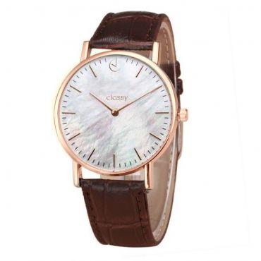 Classy dámské hodinky s opálovým odleskem Růžové