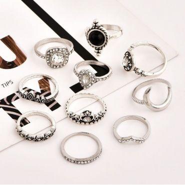 Sada Bohém prstenů 10ks Boho Silver