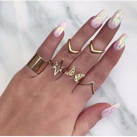 Sada Bohém prstenů 7ks Boho Gold