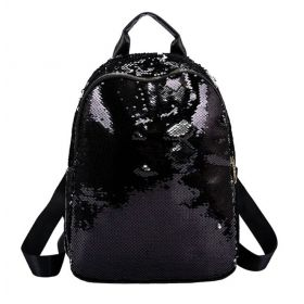 Velký batoh A4 s flitry Černý + stříbrný