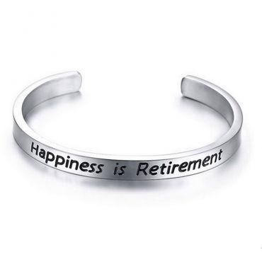 Náramek z chirurgické oceli Happiness is Retirement