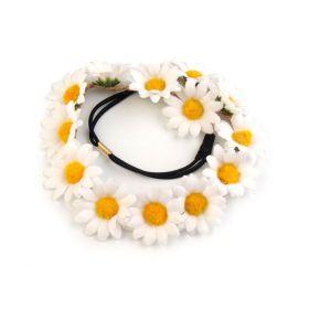 Květinová pružná čelenka s kopretinami