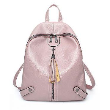 Střední retro růžový batůžek se střapcem