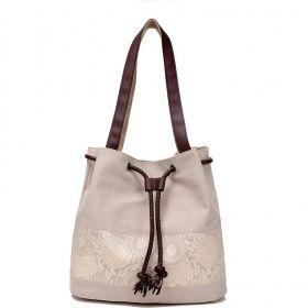Dámská plátěná kabelka Flowers Krémová