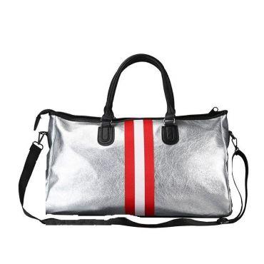 Stříbrná cestovní taška s červenými pruhy