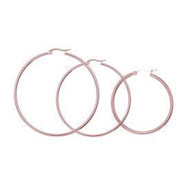 Ocelové náušnice kruhy 40-70 mm Just me Růžové zlato