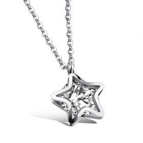 Náhrdelník z nerezové oceli Hvězda se zirkonem