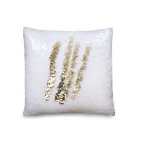 Flitrový Povlak na polštář 40x40 Bílý - zlatý