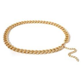 Ozdobný robusný dámský kovový pásek Zlatý